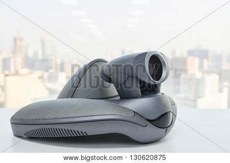 Video Conference Device on the white table
