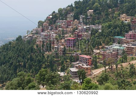 DHARAMSALA, INDIA - MAY 08, 2011: The modern tourist area of the village of McLeod Ganj (Upper Dharamsala). North India, Himachal Pradesh. Tourist landmark of the India