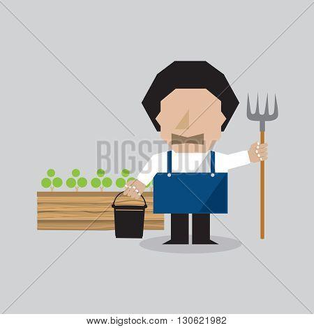 Single Of Farmer Character Vector Illustration. EPS 10