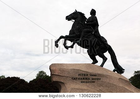 Monument to the Russian tsar Peter 1 on the Senate Square.One of the symbols of St. Petersburg. St. Petersburg. Russia