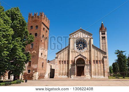 Facade and bell tower of the Church of San Zeno in Verona (UNESCO world heritage site) Veneto Italy