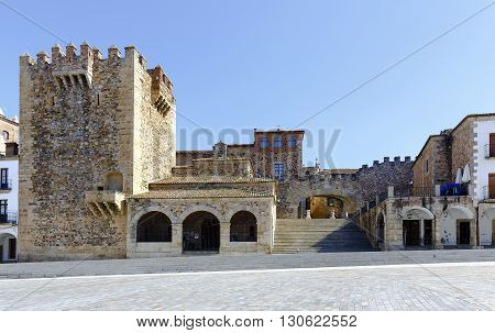 Caceres Extremadura Spain. Bujaco Tower Chapel of Peace and bow of the Star in the Plaza Mayor.