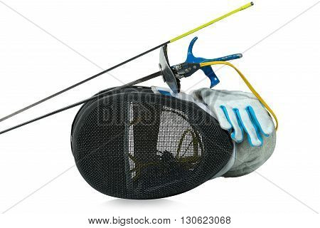Fencing foil equipment. Two fencing foils with pistol grip (sporting weapon) a fencing mask and a blue and white glove. Isolated on white background