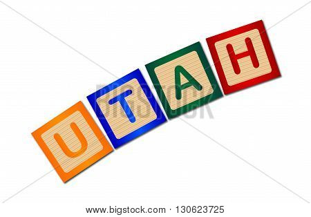 A collection of wooden block letters spelling Utah over a white background