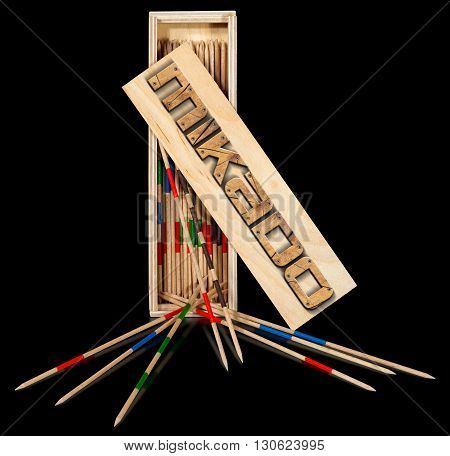 Box of the game of mikado with wooden text Mikado (illustration) and wooden sticks on a black background with reflections