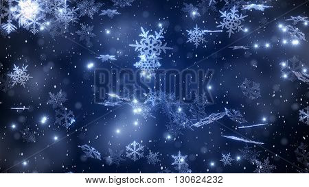 Christmas Background With A Falling Snowflakes And A Brilliant Snow