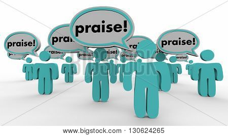 Praise People Speech Bubbles Compliments Words 3d Illustration