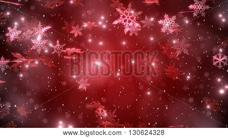 Snowfall With A Red Background Background