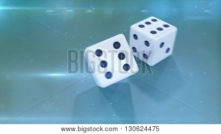Dices Closeup With A Green Background