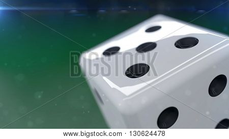 White Dice Isolated On A Green Background