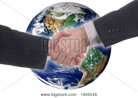 Male And Female Global Handshake