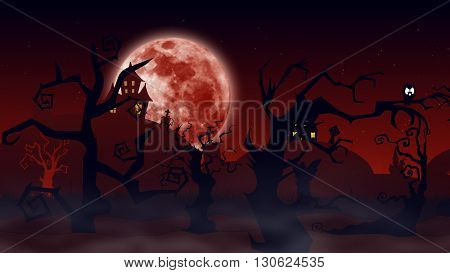 Halloween Background. Spooky Forest With Dead Trees And Bats