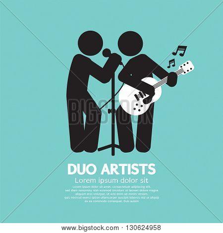 Duo Artists Black Symbol Vector Illustration. EPS 10