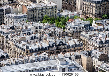 paris roofs and city view landscape panorama