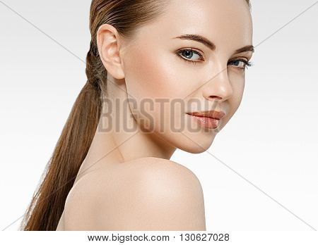 Amazing Woman Face Young Beautiful Healthy Skin Portrait