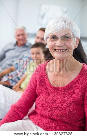 Portrait of grandmother sitting on sofa and smiling in living room