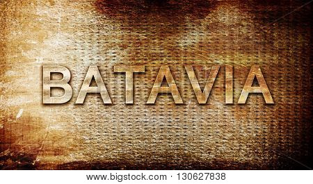 batavia, 3D rendering, text on a metal background