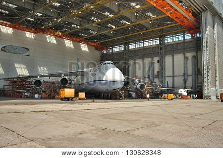 Kiev Ukraine - August 3 2011: Antonov An-124 Ruslan cargo plane being maintenanced during the check