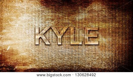 kyle, 3D rendering, text on a metal background