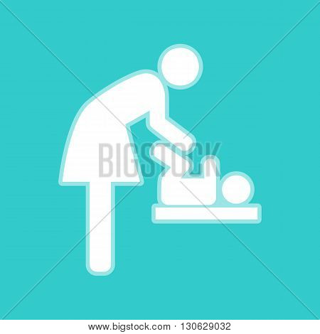 Symbol for women and baby, baby changing. White icon with whitish background on torquoise flat color.