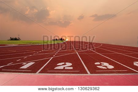 sunset and Race and running course for track and field