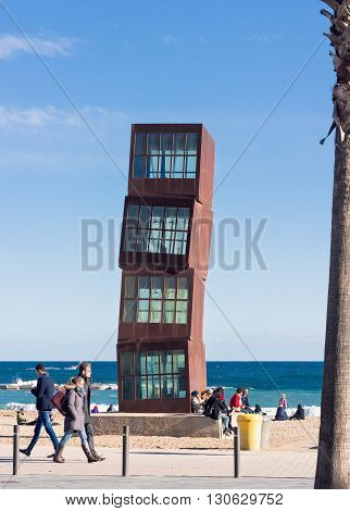 BARCELONA SPAIN - JANUARY 25 2016: Rebecca Horn For the 1992 Olympics in Barcelona was commissioned to create the steel sculpture