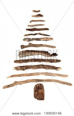 Abstract driftwood tree on a white background.