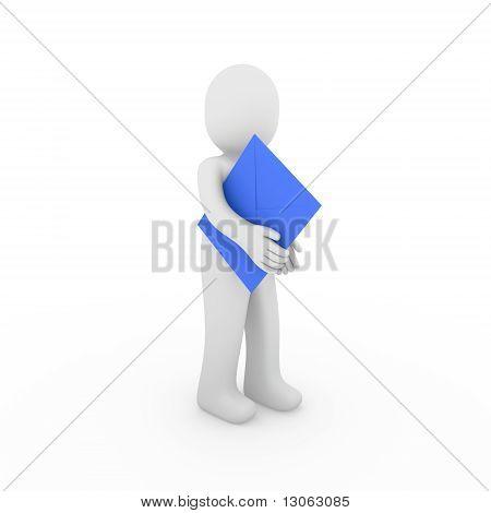 3D Human Letter Blue