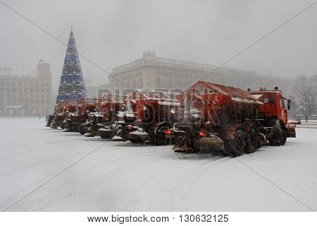 Volgograd, Russia - January 15 2012: A group of snow machines on Ploshhad' Pavshih Borcov (the Square of Fallen Fighters) in Volgograd