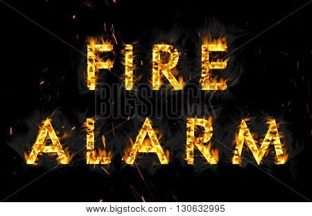 Fire alarm. The word in flames on a black background