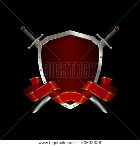 Red shield with two swords and red ribbon on black background.