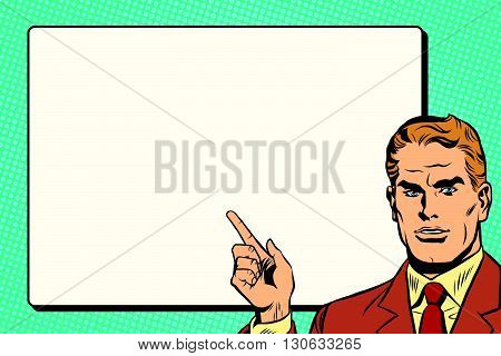 The man points to a white background sheet retro pop art pop art retro vector