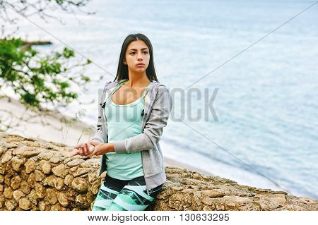 Fitness women. sporty woman checking pulse after workout