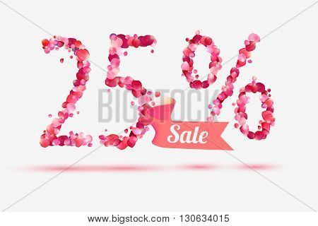 twenty five (25) percents sale. Vector digits of pink rose petals