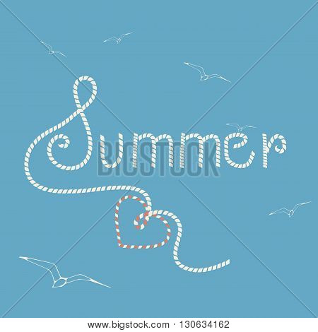 Vector background with lettering - summer and hand drawn seagulls. Website background or banner.