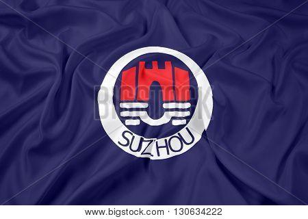 Waving Flag of Suzhou China, with beautiful satin background