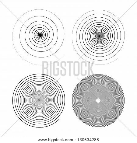 Set of four infinity black swirls isolated on white