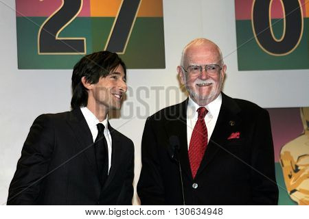Adrien Brody and Frank Pierson at the 77th Annual Academy Awards Nominations Announcement held at the Samuel Goldwyn Theater AMPAS in Beverly Hills, USA on January 25, 2005.