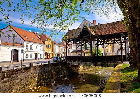 Samobor river and old wooden bridge town in northern Croatia