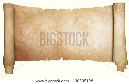 Antique parchment scroll. Isolated on white background.