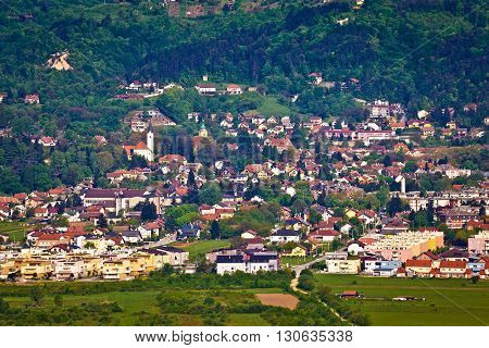 Hillside town of Samobor aerial view northern Croatia
