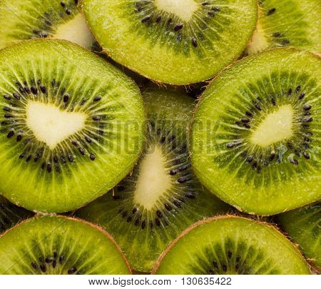 Slices of kiwi, organic fresh fruit with skin