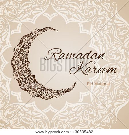 Brown ornate crescent on background of asian floral ornament. Illustration in pastel shades. Greeting card of holy Muslim month Ramadan