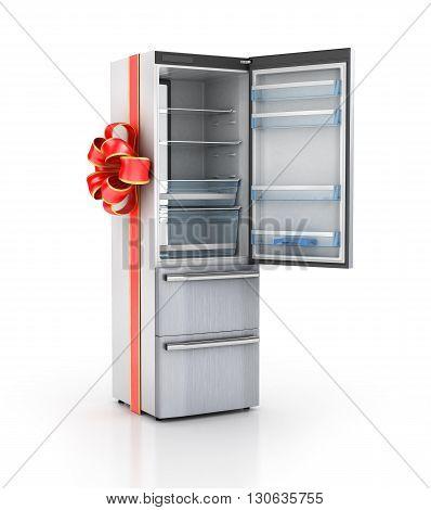 Kitchen appliances. Refrigerator in gift ribbon. 3d illustration