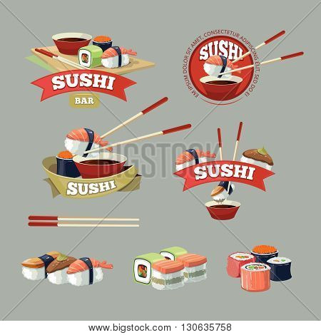 Vector set with sushi banners, sushi icons, logo and and sushi illustrations isolate on dark background.