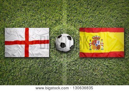 England Vs. Spain Flags On Soccer Field