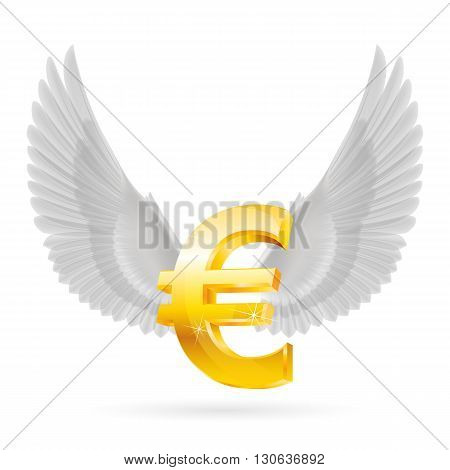 Shiny golden euro symbol with white wings