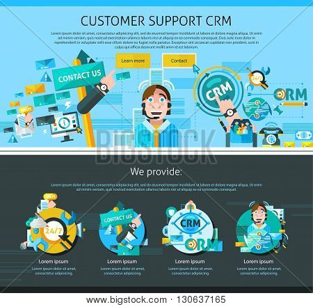 Customer support one page design with advertising symbols flat isolated vector illustration