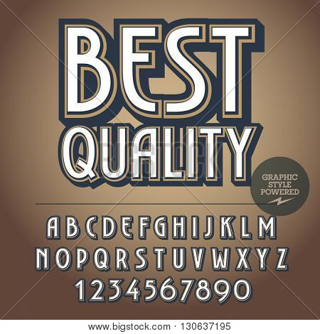Retro styled set of alphabet letters, numbers and punctuation symbols. Vintage logotype with text Best quality