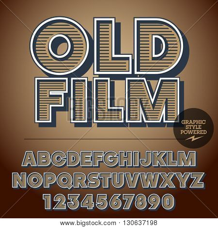 Retro styled set of alphabet letters, numbers and punctuation symbols. Vintage poster with text Old film
